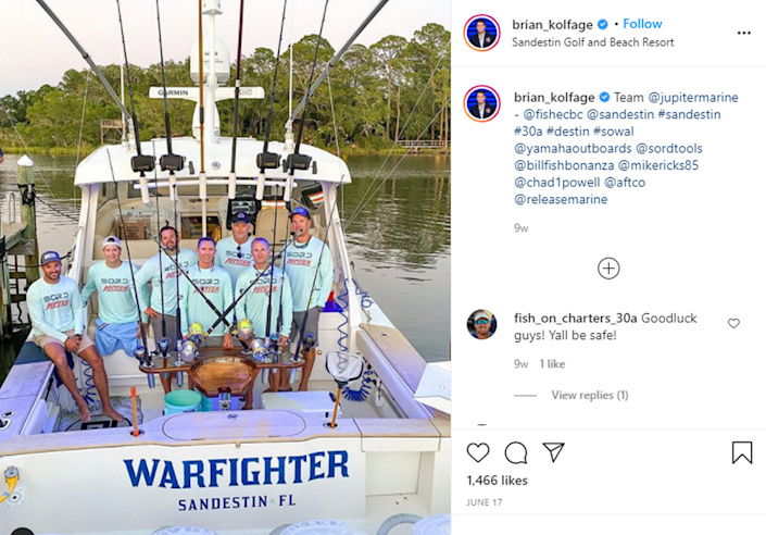 A photo from Brian Kolfage's Instagram profile showing a boat named the Warfighter.