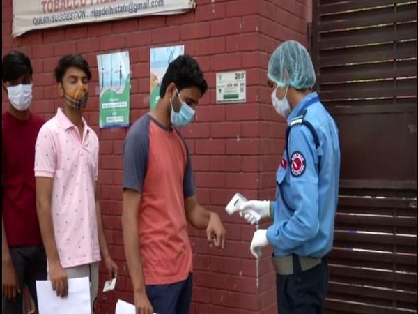 Students appearing for NEET 2021 examination in New Delhi on Sunday. (Photo/ANI)