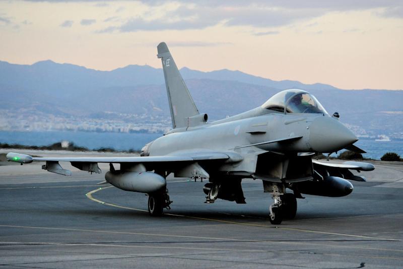 Two Typhoon jets were dispatched from RAF Coningsby to escort the Ryanair plane (File image: PA)