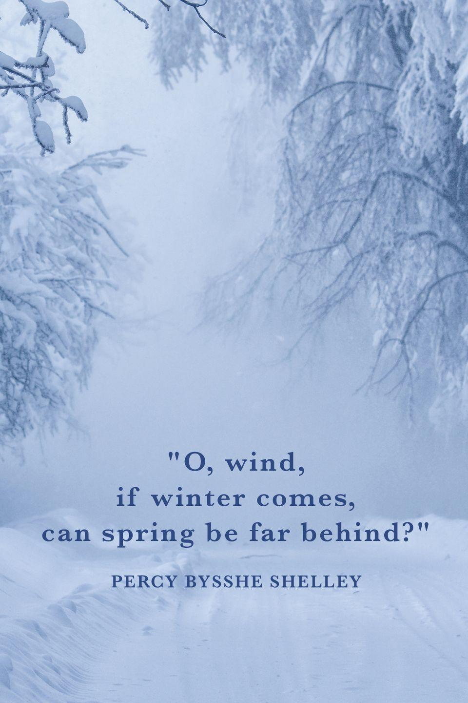 "<p>""O, wind, if winter comes, can spring be far behind?""</p>"