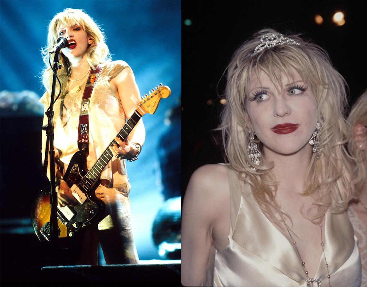 <p>Courtney Love took Debbie Harry's grunge look and supersized it, pairing straggly platinum locks with smeared lipstick and silk slip dresses.</p>