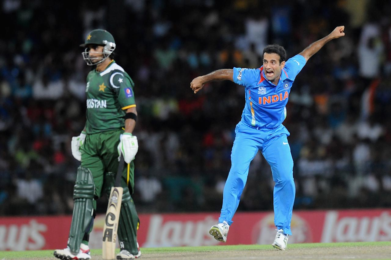 COLOMBO, SRI LANKA - SEPTEMBER 30:  Imran Nazir of Pakistan looks on as Irfan Pathan of India celebrates after taking his wicket during the ICC T20 World Cup, Super Eight group 2 cricket match between Pakistan and India at R. Premadasa Stadium on September 30, 2012 in Colombo, Sri Lanka.  (Photo by Pal Pillai/Getty Images)