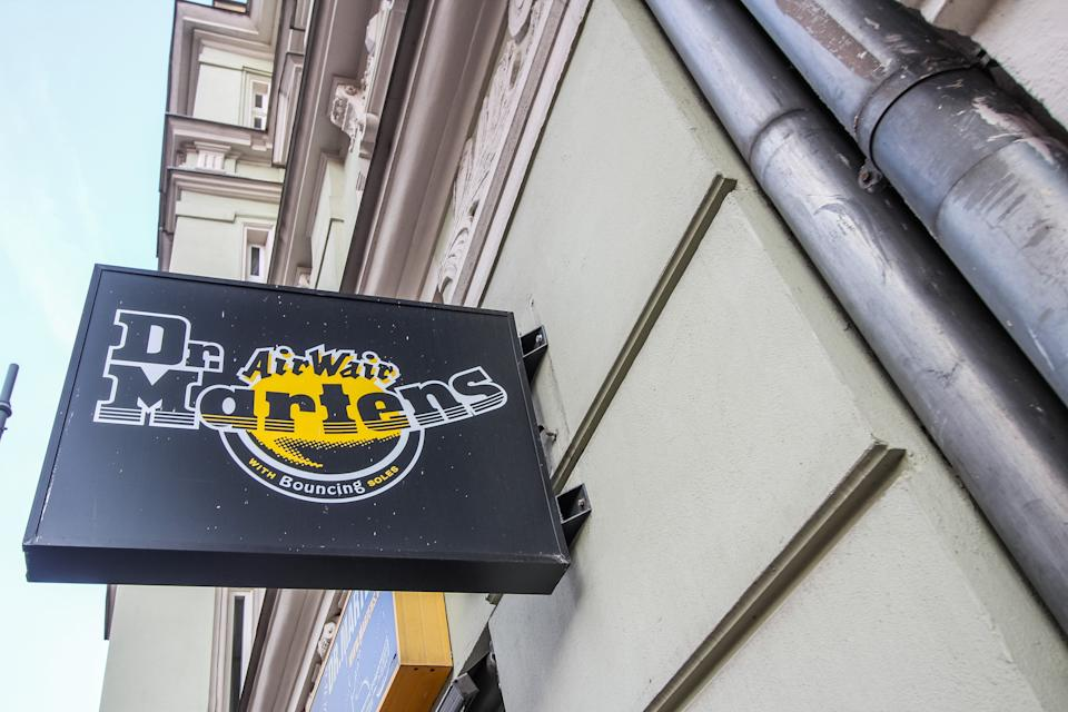 Dr. Martens store logo is seen in Poznan, Poland on 12 September 2020  (Photo by Michal Fludra/NurPhoto via Getty Images)