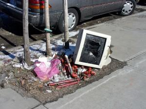 Smashed PC on the ground