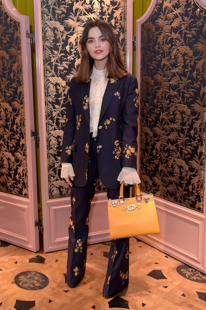 <p>On March 28, actress Jenna Coleman attended a Gucci party in London decked in head-to-toe of the luxe brand. <em>[Photo: Getty]</em> </p>
