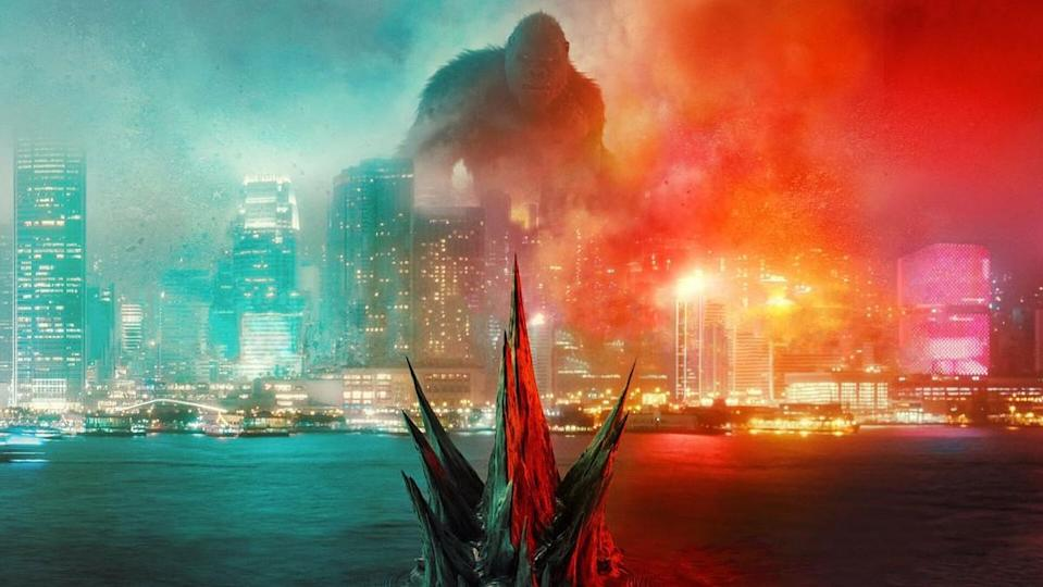 A snippet from the poster of Godzilla vs. Kong, with Godzilla approaching Hong Kong in the water where Kong awaits.