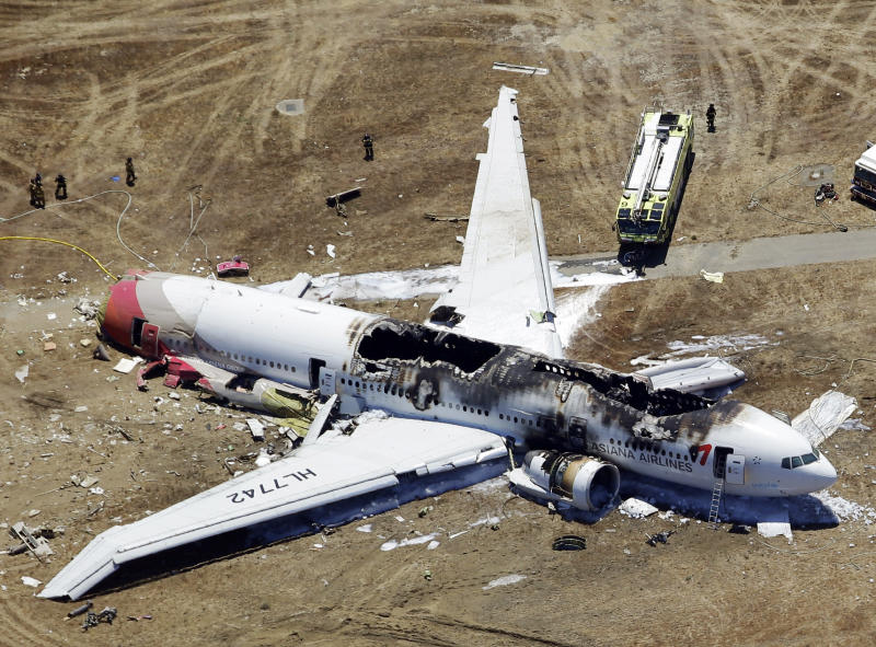 <p> FILE - This Saturday, July 6, 2013 aerial file photo shows the wreckage of the Asiana Flight 214 airplane after it crashed at the San Francisco International Airport in San Francisco. Officials are looking into whether some attorneys may have violated a U.S. law barring uninvited solicitation of air disaster victims in the first 45 days after an accident in connection with the crash landing of Asiana Flight 214 in San Francisco. The National Transportation Safety Board says it has received an unspecified number of complaints about solicitations since the July 6 accident that killed three Chinese teenage girls and injured 180. (AP Photo/Marcio Jose Sanchez)