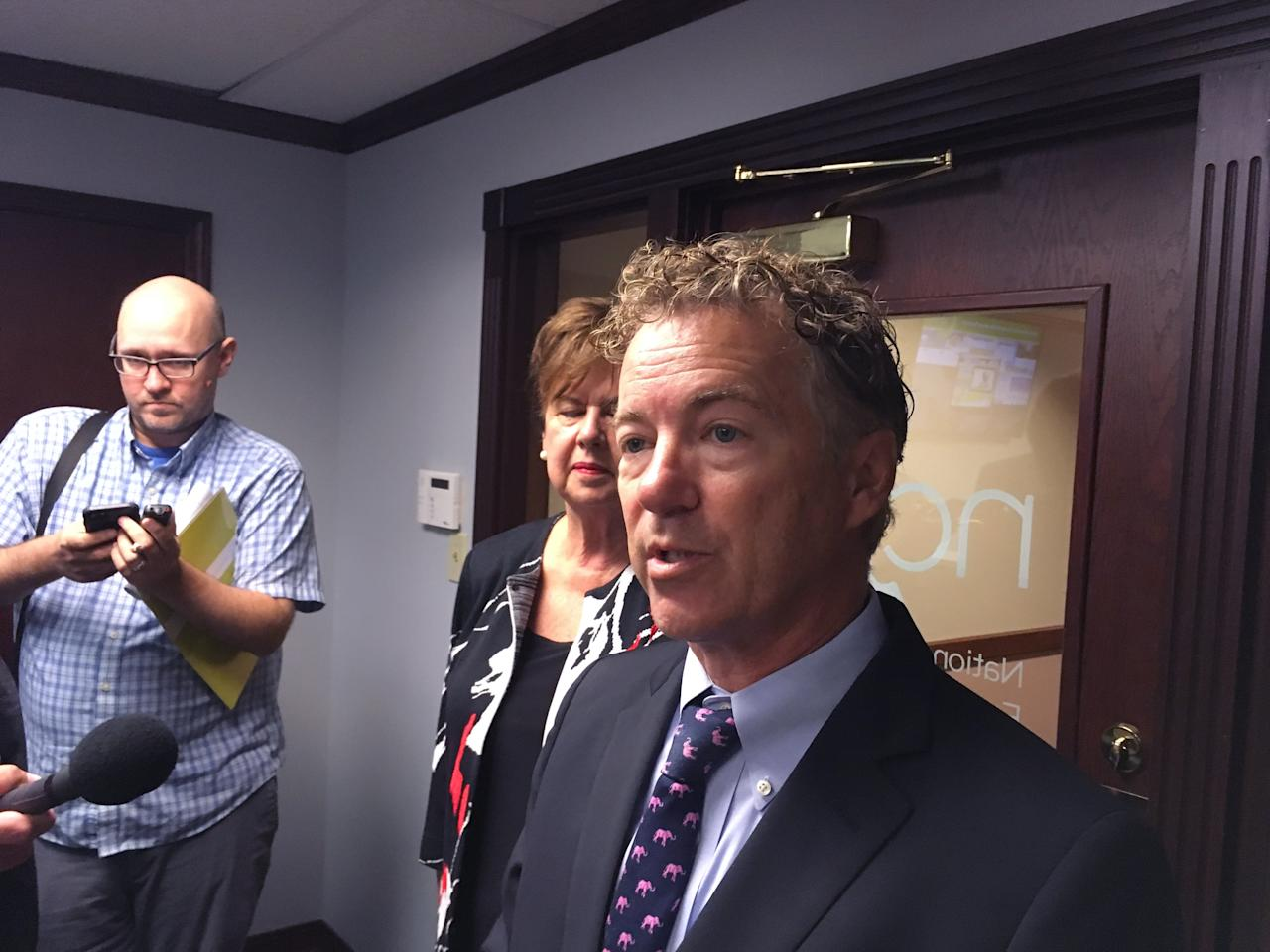 <p> Kentucky Republican U.S. Sen Rand Paul tells reporters he plans to vote against a GOP bill that would repeal and replace most of former President Barack Obama's health care law on Monday, Sept. 25, 2017, in Louisville, Ky. (AP Photo/Adam Beam) </p>