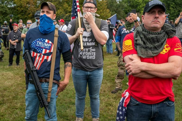 """The far-right Proud Boys group has become known for picking fights with leftist protests; the Anti-Defamation League says they have become a Republican """"volunteer security force"""""""