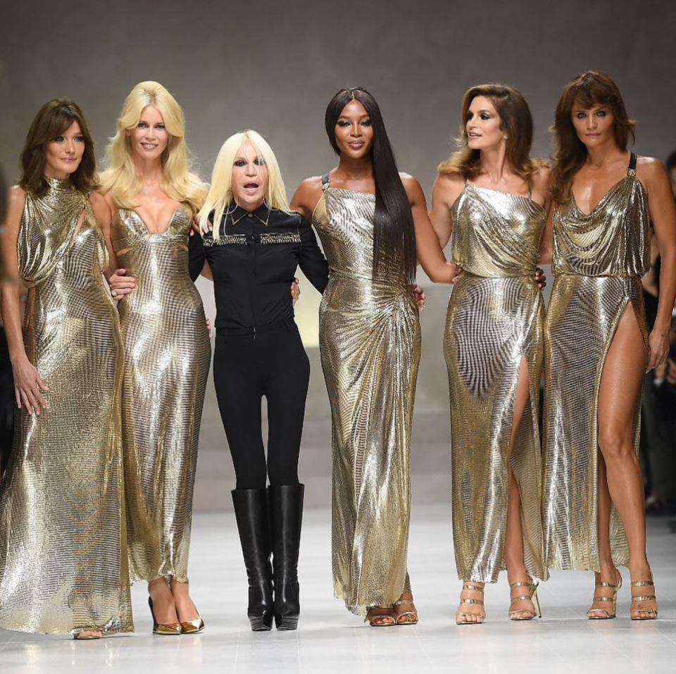 Naomi was front and centre at Versace's recent show too [Photo: Getty]