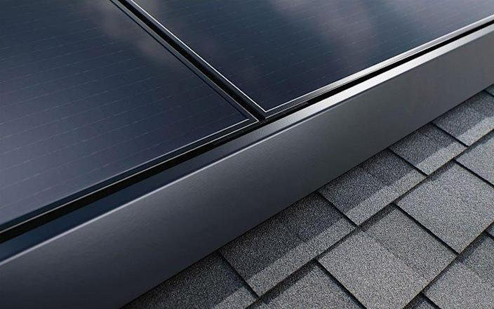Colse-up view of Tesla solar panels (roof-mounted).