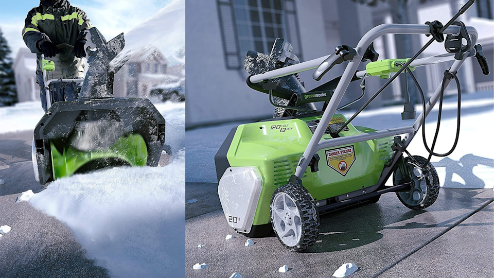 The brand behind our favorite electric shovel, Greenworks also makes an electric snow thrower that will offer a little more force behind it.