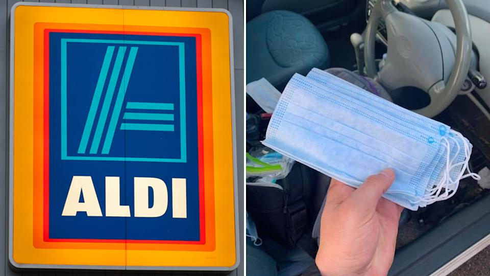 An ALDI customer holding several faulty face masks