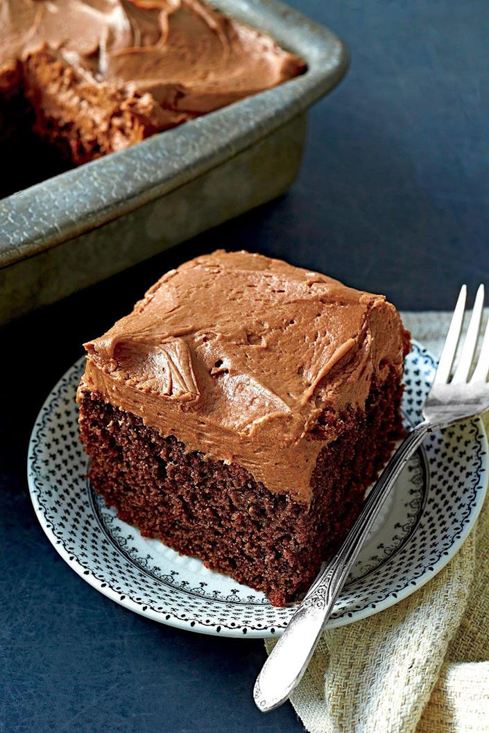 "<p><b>Recipe: <a href=""http://www.southernliving.com/syndication/chocolate-mayonnaise-cake"" rel=""nofollow noopener"" target=""_blank"" data-ylk=""slk:Chocolate Mayonnaise Cake"" class=""link rapid-noclick-resp"">Chocolate Mayonnaise Cake</a></b></p> <p> Grandma would never tell you, but she made her cakes so fluffy by adding mayonnaise. Now the secret's out.</p>"