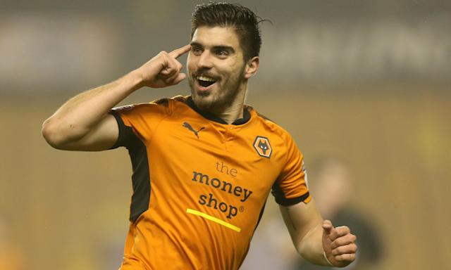 Rúben Neves celebrates scoring Wolves' second goal against Derby County with a 30-yard volley.