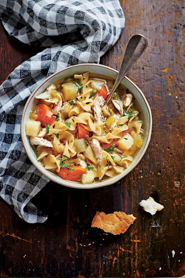 """<p><strong>Recipe: <a href=""""https://www.southernliving.com/recipes/slow-cooker-chicken-soup"""" target=""""_blank"""">Soulful Chicken Soup</a></strong></p> <p> Just like Mama used to make. Complete with lots of noodles, this Soulful Chicken Soup is the ultimate fall comfort food.</p>"""