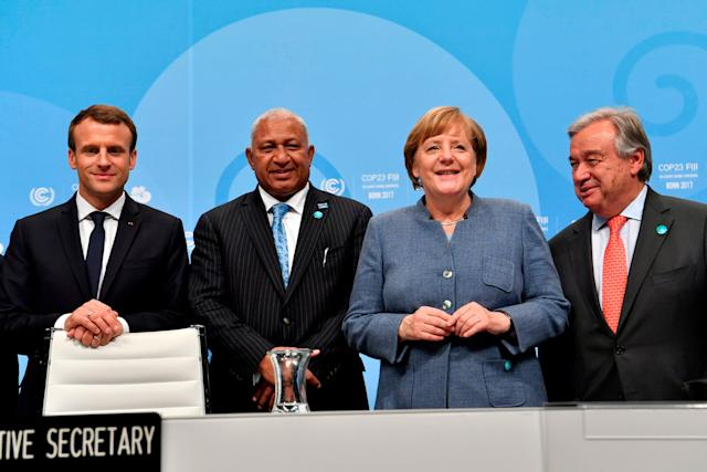 From left to right:French President Emmanuel Macron; prime minister of Fiji and president of COP 23 Frank Bainimarama; German Chancellor Angela Merkel; and UN Secretary-General Antonio Guterres. The leaders pose on Wednesday before the opening sessionof the United Nations' conference on climate change in Bonn, Germany.