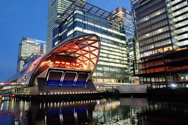 A view of the roof structure designed by architect Norman Foster that sits above Canary Wharf Crossrail station, in the North Dock of the Canary Wharf financial district, London. Photo: Jim Dyson/Getty Images