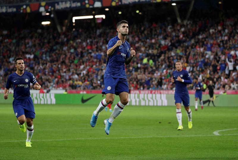 Soccer Football - Pre Season Friendly - Red Bull Salzburg v Chelsea - Red Bull Arena, Salzburg, Austria - July 31, 2019 Chelsea's Christian Pulisic celebrates scoring their first goal REUTERS/Leonhard Foeger