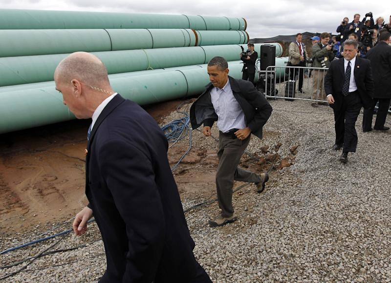 President Barack Obama arrives at the TransCanada Stillwater Pipe Yard in Cushing, Okla., Thursday, March, 22, 2012. (AP Photo/Pablo Martinez Monsivais)
