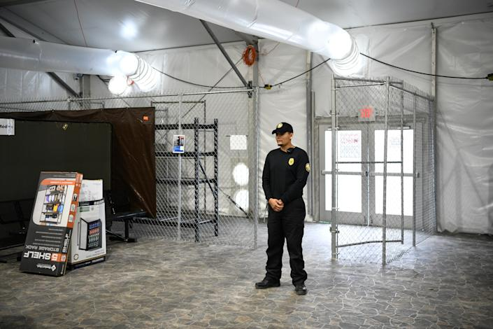 A security guard stands at an entrance during a tour of U.S. Customs and Border Protection (CBP) temporary facilities in Donna, Texas, U.S. May 2, 2019. (Photo: Loren Elliott/Reuters)