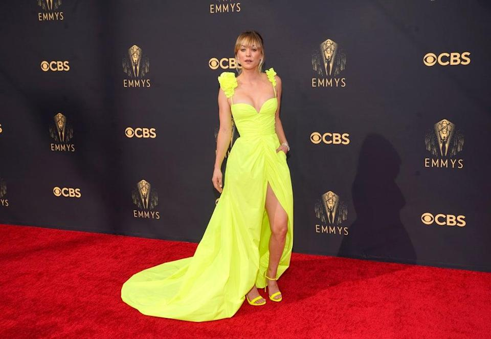Kaley Cuoco dazzled on the red carpet at the Emmy Awards (AP Photo/Chris Pizzello) (AP)