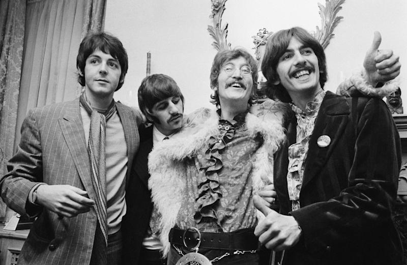 The Beatles at the press launch for their new album 'Sergeant Pepper's Lonely Hearts Club Band', held at Brian Epstein's house at 24 Chapel Street, London, 19th May 1967.