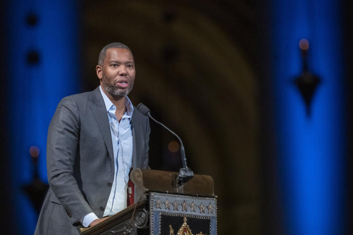 Author Ta-Nehisi Coates speaks during the Celebration of the Life of Toni Morrison, Thursday, Nov. 21, 2019, at the Cathedral of St. John the Divine in New York. Morrison died in August at age 88. (AP Photo/Mary Altaffer)