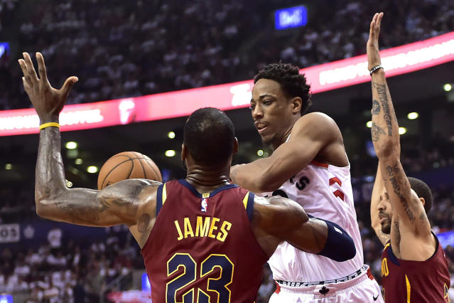 DeRozan was haunted by LeBron James in the Eastern Conference, so LeBron heading to the Lakers finally seemed like a reprieve. (Frank Gunn/The Canadian Press via AP)
