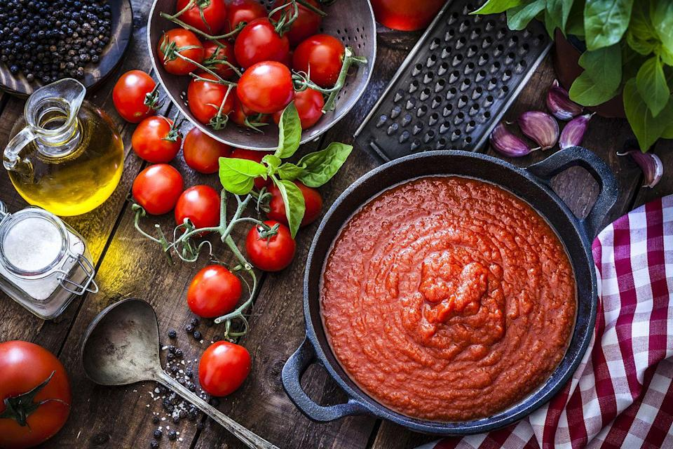 "<p>There's nothing like the smell of a pot of freshly prepared marinara sauce simmering on the stove. But when you're in a rush to get dinner on the table, jarred sauce is a godsend. <a href=""http://www.devinalexander.com/"" rel=""nofollow noopener"" target=""_blank"" data-ylk=""slk:Chef Devin Alexander"" class=""link rapid-noclick-resp"">Chef Devin Alexander</a> says you don't need to make your own marinara sauce for everyday use. ""Yes, on holidays and very special occasions you might have the special family recipe,"" he tells Woman's Day. ""But there are so many AMAZING high quality jarred marinara sauces."" </p>"