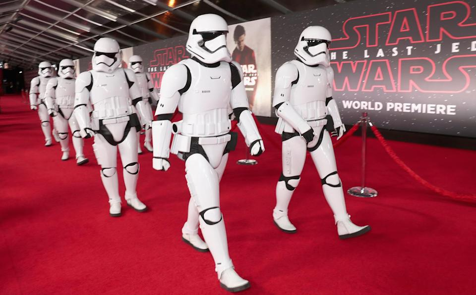 First Order troopers clear the carpet. (Photo: Rich Polk/Getty Images for Disney)