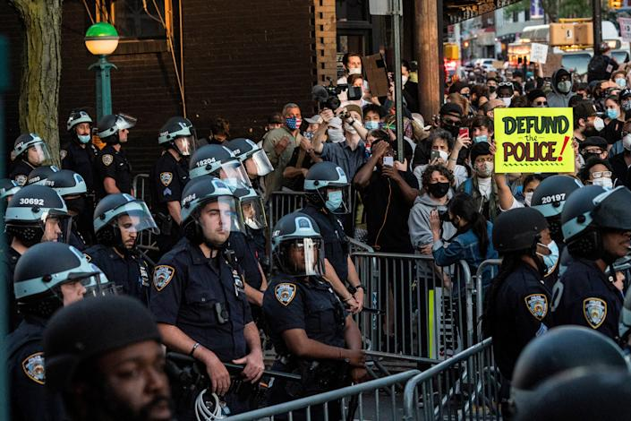 Protesters in New York rallying against Floyd's killing.