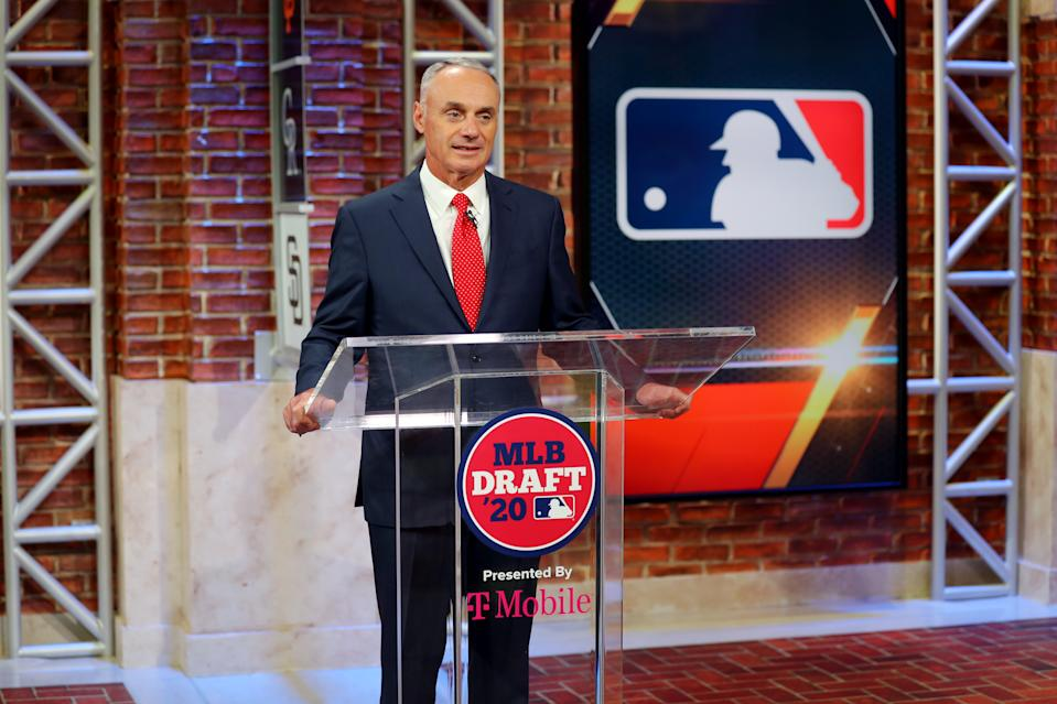 Commissioner Rob Manfred says MLB never intended to stage a season longer than 60 games. (Photo by Alex Trautwig/MLB Photos via Getty Images)