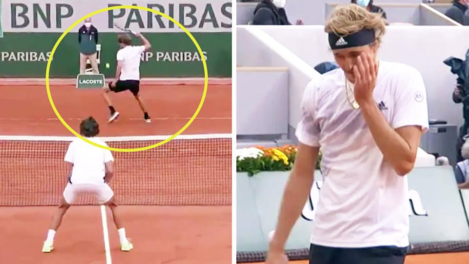 Alexander Zverev (pictured right) frustrated after losing a point where he attempted a 'ridiculous' tweener (pictured left) at the French Open.