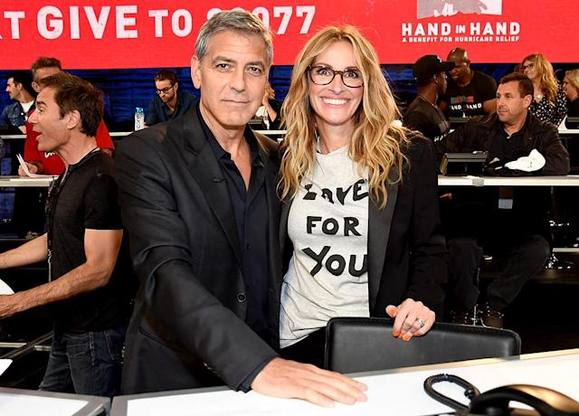 """<p>The old friends and co-stars reunited to answer phones during Tuesday's star-studded <em>Hand in Hand: A Benefit for Hurricane Relief</em> telethon to help survivors of Hurricanes Harvey and Irma. The remarkable effort brought in more than $14 million by the time the show was over and <a href=""""http://www.hollywoodreporter.com/news/inside-star-studded-hand-hand-hurricane-relief-telethon-1038070"""" rel=""""nofollow noopener"""" target=""""_blank"""" data-ylk=""""slk:much more overnight"""" class=""""link rapid-noclick-resp"""">much more overnight</a>. (Photo: Kevin Mazur/Hand in Hand/Getty Images) </p>"""