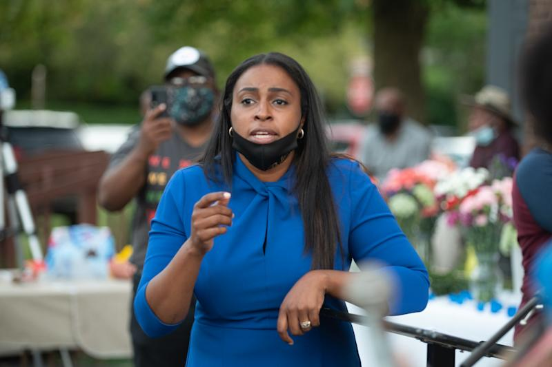 The Mayor of Rochester, NY, Lovely Warren takes questions from the Community after Police Kill Daniel Prude on September 3, 2020 in New York, US. (Zach D Roberts/NurPhoto via Getty Images)