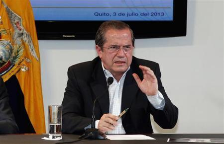 Ecuador's Foreign Minister Patino gestures during a news conference on the hidden spy microphone uncovered at the office of Alban, the Ecuadorean ambassador to the United Kingdom, in Quito