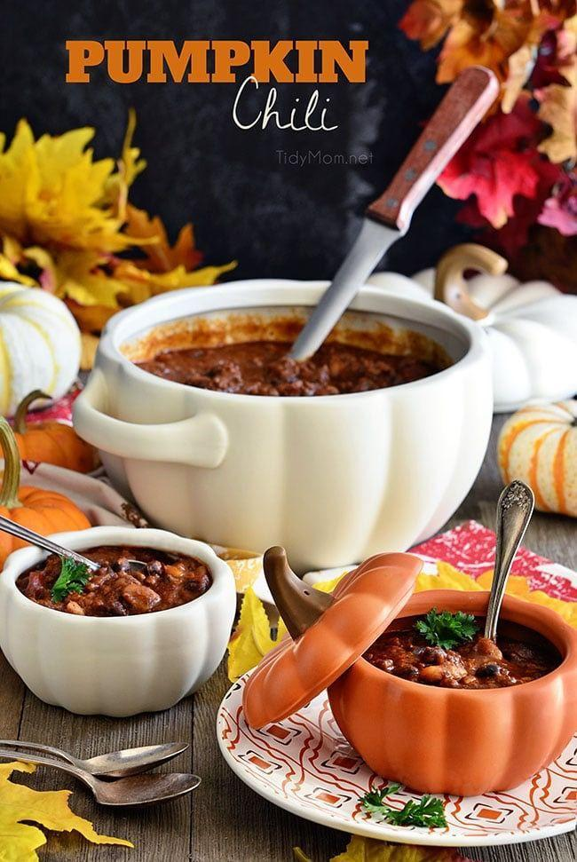 """<p>This hearty and warming dish has a surprising ingredient (pumpkin!) that kicks up the yum factor. </p><p><a class=""""link rapid-noclick-resp"""" href=""""https://tidymom.net/2016/pumpkin-chili/"""" rel=""""nofollow noopener"""" target=""""_blank"""" data-ylk=""""slk:GET THE RECIPE"""">GET THE RECIPE</a></p>"""