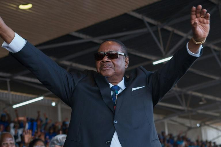 Thousands of demonstrators are protesting the re-election of President Peter Mutharika, seen here at his May 2019 swearing-in ceremony