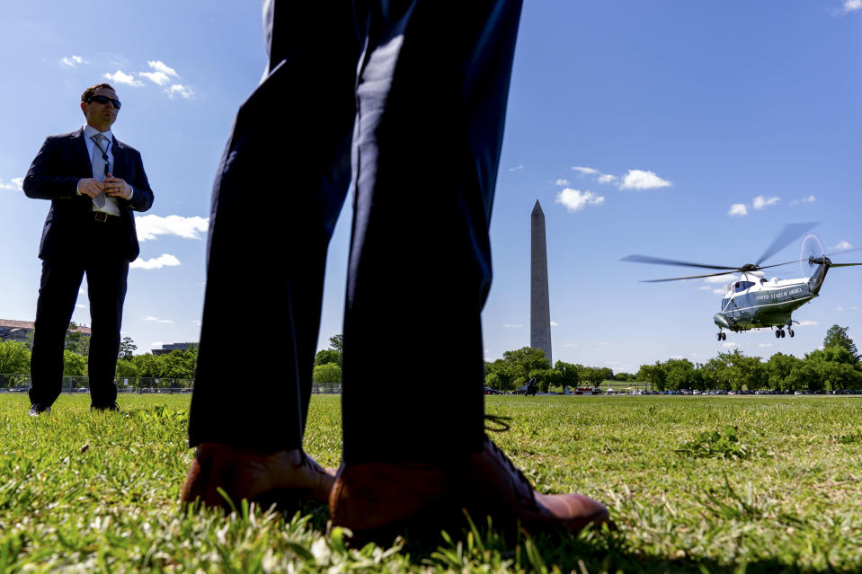 Marine One with President Joe Biden abroad takes off from the Ellipse at the White House in Washington, Thursday, May 6, 2021, for a short trip to Andrews Air Force Base, Md., and then on to Lake Charles, La., and New Orleans. (AP Photo/Andrew Harnik)