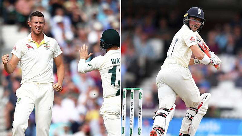 Josh Hazlewood's LBW of Rory Burns was overturned by DRS. Pic: Getty