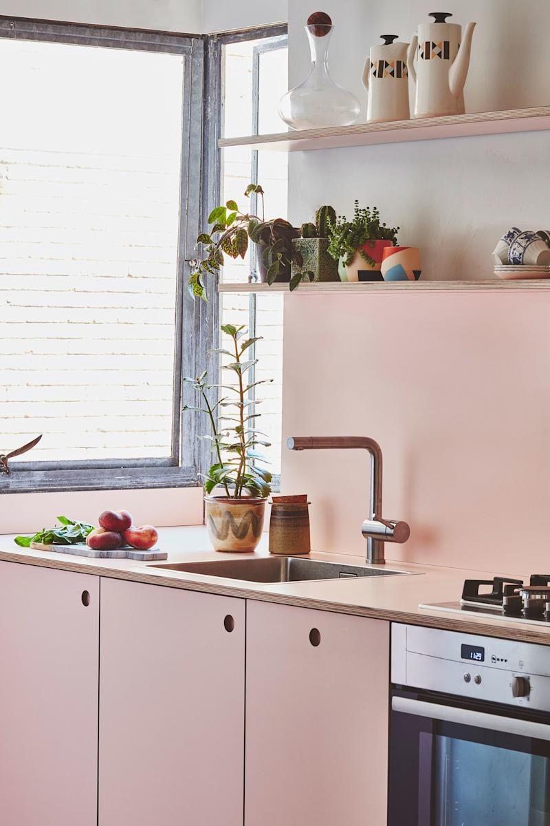 It might be tempting to take a galley kitchen and crack it wide open, but this pink cutie by London-based manufacturer Pluck proves that keeping it a small space can work (with the right finishes).