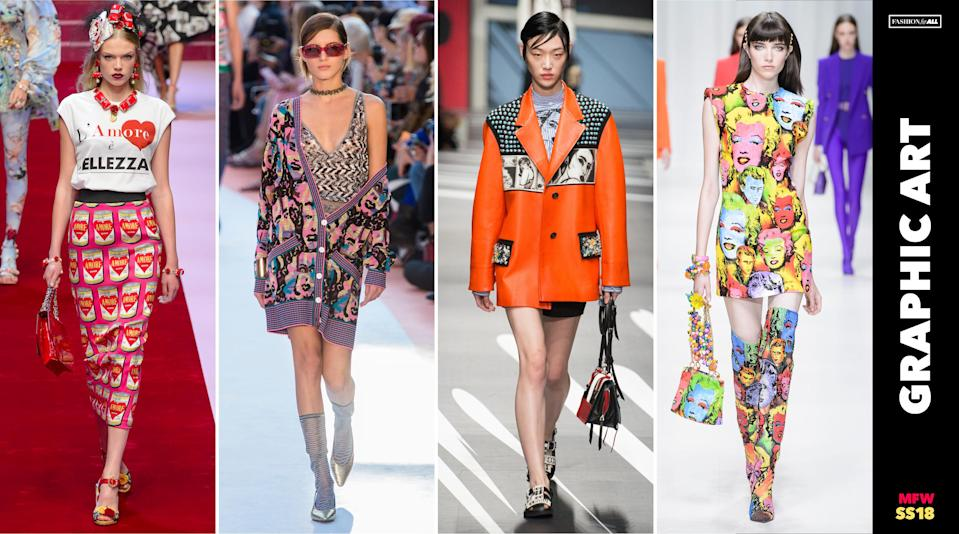 <p><i>Pop-art prints made their way onto skirts, cardigans, jackets, and even handbags and boots. It's a trend clearly not for the low-key, black-and-white wearing minimalist. (Photo: ImaxTree, Art: Quinn Lemmers for Yahoo Lifestyle) </i></p>