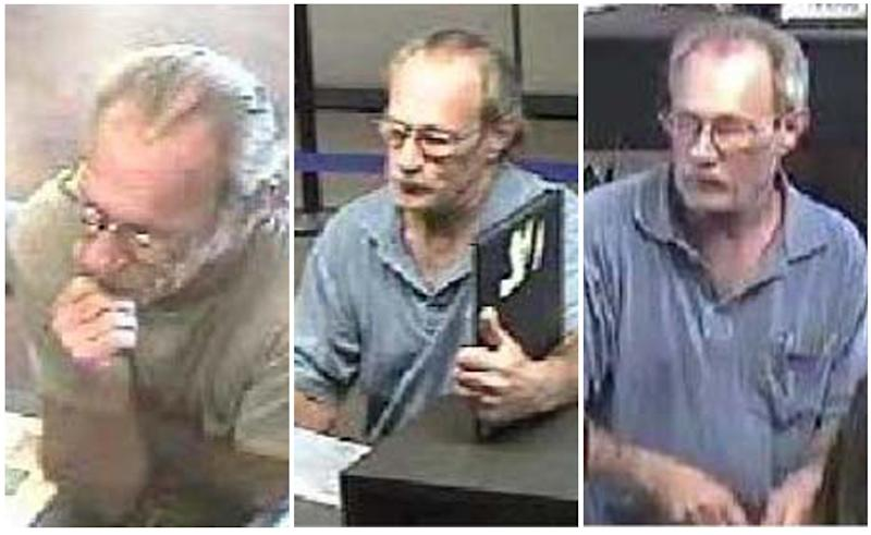 FILE - These surveillance photos provided by the Federal Bureau of Investigation's St. Louis Division shows a serial bank robber dubbed the Bucket List Bandit on, from left: June 21, June 27 and July 6, 2012.  The bank robbery suspect been captured in Oklahoma, an FBI agent said Friday, Sept. 14, 2012.  Michael Eugene Brewster, 54, was arrested Thursday night after a traffic stop in Roland, Okla., said Jason Crouse, the acting head of the FBI office in Erie, Pa. Crouse's office is investigating a robbery in the northwestern Pennsylvania city earlier this week. He wouldn't provide details of the arrest because the FBI planned a national announcement later in the day. (AP Photo/FBI)