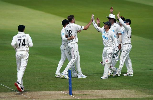 New Zealand celebrate the wicket of Dan Lawrence, not pictured