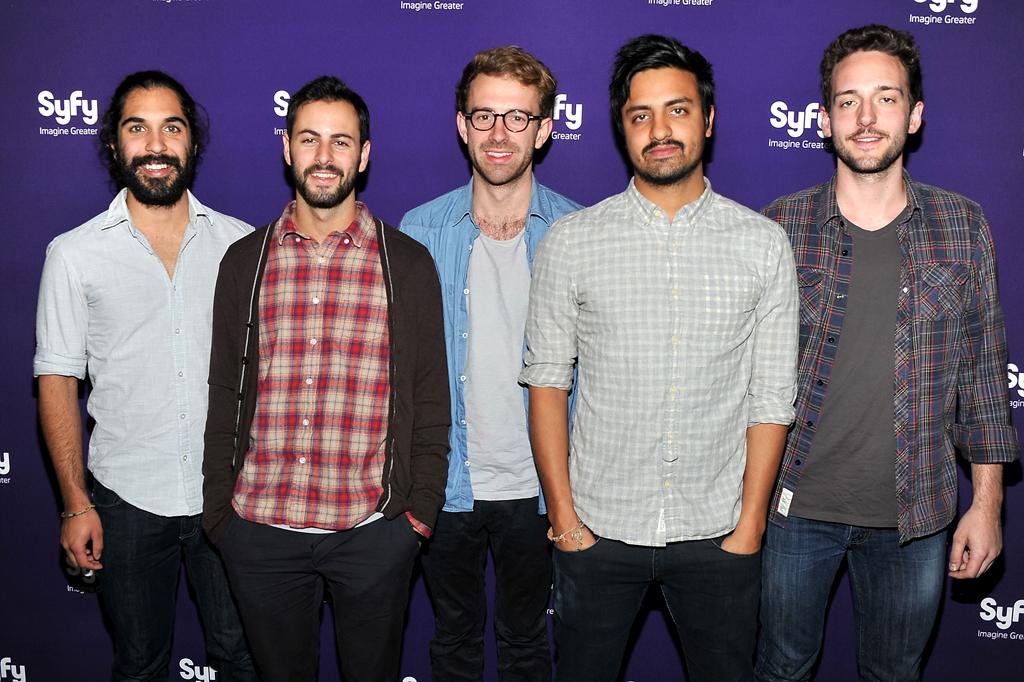 Payam Doostzadeh, Eric Cannata, Jacob Tilley, Sameer Gadhia, and Francois Comtois of Young The Giant attend Syfy's 2012 Upfront event at the American Museum of Natural History on April 24, 2012 in New York City.