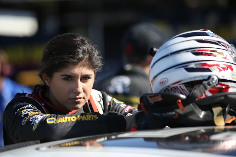ROSEVILLE, CA - OCTOBER 13: Hailie Deegan, driver of the #19 Mobil 1/NAPA Power Premium Plus Toyota, during practice for the NASCAR K&N Pro Series West NAPA AutoCare/Roseville Toyota 200 at All American Speedway on October 13, 2018 in Roseville, California. (Photo by Austin Ginn/Getty Images)