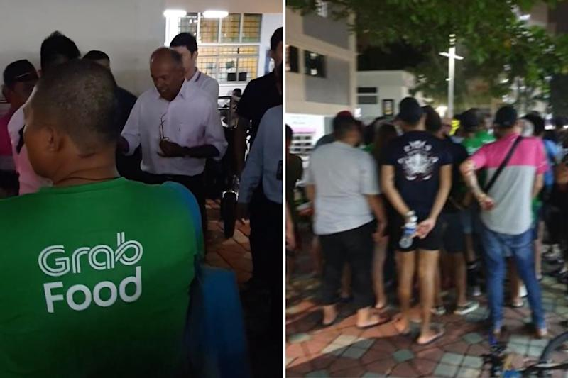 A screengrab from the video (left) posted on Facebook of Law and Home Affairs Minister K Shanmugam meeting PMD riders outside his MPS on Tuesday and a photo (right) of the group of riders who met him.