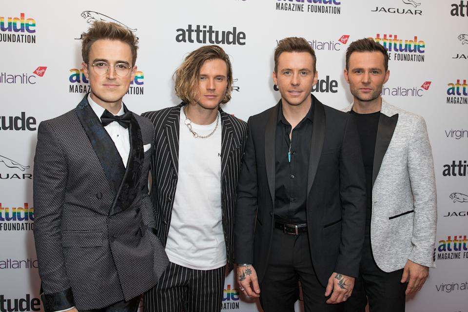 LONDON, UNITED KINGDOM - 2019/10/09: (L to R) Tom Fletcher, Dougie Poynter, Harry Judd and Danny Jones from McFly attend the Virgin Atlantic Attitude Awards 2019 powered by Jaguar at The Roundhouse Camden. (Photo by Phil Lewis/SOPA Images/LightRocket via Getty Images)