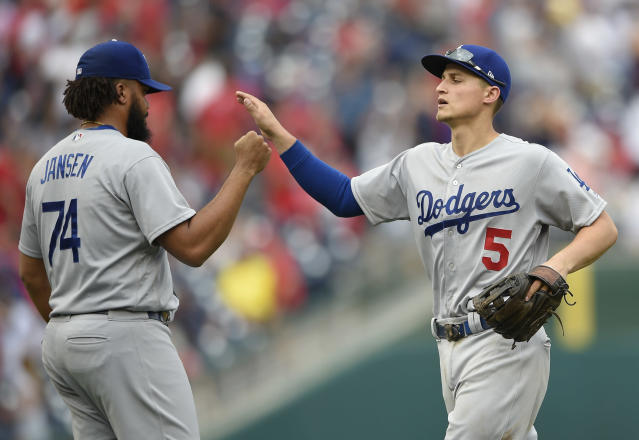Corey Seager, Kenley Jansen and the Dodgers could clinch the NL West by the end of this week. (AP)